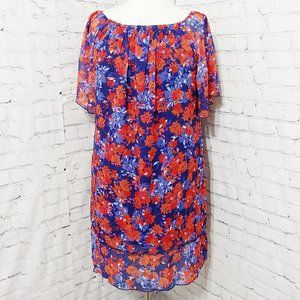 Floral Chiffon On/Off Shoulder Dress 22W/24W